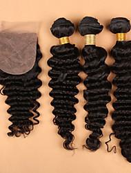 100% 7A Unprocessed Human Virgin Hair With Silk Closure Deep Wave,Silk Closure with Bundles Hair Weaves In Stock