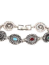 Retro Tibetan Silver Hollow Precious Stones Bracelet