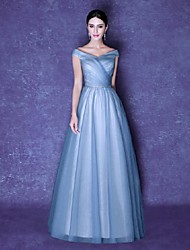 Vestido de baile Vestido de noiva com vestido de v-pescoço Vestido de noite formal com drapeado lateral