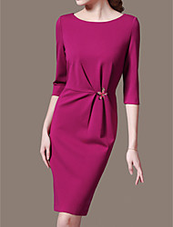 Sheath/Column Mother of the Bride Dress - Fuchsia / Pool Knee-length 3/4 Length Sleeve Polyester