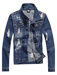 Men's Pure Long Sleeve Slim Holes Rivets Demin Jacket , Shirt Cotton Casual / Plus Sizes
