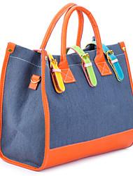 Fashion canvas + PU shoulder / hand bag (177,034) - Orange + Dark Blue