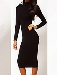 Dominic Women's Solid Color Black Dresses , Bodycon / Casual High-Neck Long Sleeve