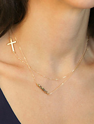Sideways Cross Necklace Women's Simple Fashion Handmade Beaded Crystal Cross Pendant Double Layer Necklace