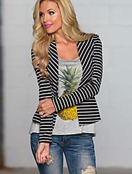 Women's Striped Blazer , Casual / Print Waist line Long Sleeve