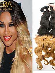 3pcs / lot cheveux ombre de vague de corps malaisien tissage 2 tons ombre humaine extensions de cheveux 1b / 27 cheveu humain tisse 8 '' -