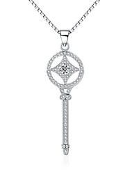 "Jazlyn® 925 Sterling Silver Full Of Cubic Zirconia ""Lucky Stars"" Key Pendant Women's Men's Necklace Love Token"
