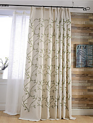 (Two Panels)Modern Vine Embroidered Linen/Cotton Blend Curtain(Sheer Not Included)