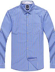 Men's 100% Cotton Casual Long Sleeve Check Shirts