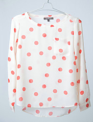 Lady's  Dots Chiffon Blouser, Long Folded Sleeve, Spring, Summer and Autumn
