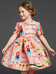 Girl's Short Sleeve Round Collar Letter Cartoon Printing One Piece Princess Dress for Party (Cotton)