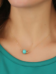 Women's Fashion Simple Blue Turquoise Clavicle Chain Pendant Necklace