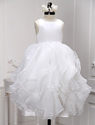 A-line Ankle-length Flower Girl Dress - Organza Scoop with Ruffles Pleats