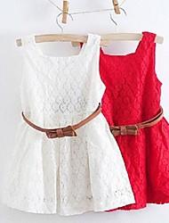 Vestido Chica de - Verano / Primavera - Algodón / Poliéster - Rojo / Blanco