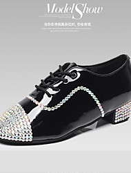 Customized Men's Dance Shoes Inlay Diamond Latin/Modern/Ballroom Black