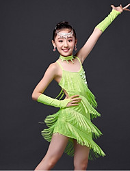 Latin Dance Dresses Children's Performance / Training Milk Fiber Tassel(s) 1 Piece Fuchsia / Green / Red / Yellow