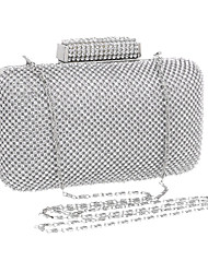 Women Polyester / Metal Minaudiere Clutch / Evening Bag - Silver