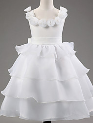 Princess Floor Length Flower Girl Dress - Lace Polyster Scoop with Satin Bow Floral Satin Bowknot Ruffles