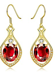 Fashion Zircon Water-Drop Gold- Plated Drop Earring(Golden,Rose Gold,White)(1Pair)