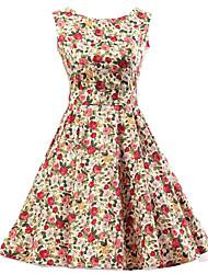 Women's Pink Floral Dress , Vintage Sleeveless 50s Rockabilly Swing Short Cocktail Dress