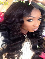 Silk Top Full Lace Wigs Medium Density Brazilian Virgin Hair Body Wave Full Lace Human Hair Wigs Natural Color