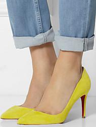 Women's Shoes Fleece Stiletto Heel Heels / Pointed Toe Heels Wedding / Party & Evening / Dress Black / Yellow / Red