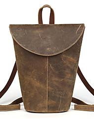 Women Cowhide Bucket Backpack Street Fashion Vintage Style Teenage Girls - Brown