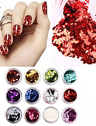 12 Colors/Set 3D Rhombus Glitter Shape Sequins Powder Nail Art Acrylic Kit