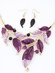 Hot 5 Color Fashion Leaves Pendant Necklace Drop Earring Wedding Jewelry Set