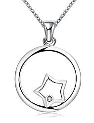 Femme Collier court /Ras-du-cou Pendentif de collier Colliers Déclaration Forme de Cercle Forme Géométrique Argent sterlingMode Creux