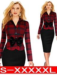(S-4XL)Plus Size Women's Sexy Bodycon OL Slim Long Sleeve Dresses Pencil Dresses  VICONE