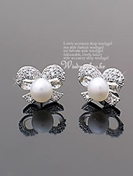Stud Earrings Pearl Crystal Imitation Pearl Rhinestone Silver Plated Silver Jewelry Party Daily Casual 2pcs