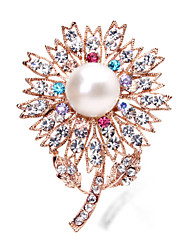 Korean Jewelry Diamond Pearl Brooch