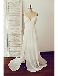 A-line Wedding Dress Sweep / Brush Train V-neck Chiffon / Lace with Lace / Split