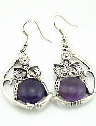 Vintage Look Antique Silver Plated Owl Crystal Turquoise Amethyst Stone Drop Dangle Earring(1Pair)