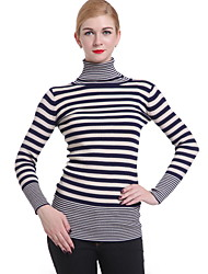 Women's Striped Black / Navy Blue Dress , Vintage / Casual Long Sleeve