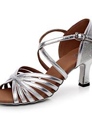 Sparkling Glitter Women's Dance Shoes Latin / Salsa / Samba Leatherette Customized Heel Silver