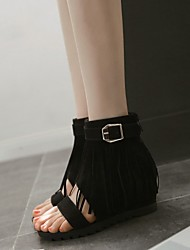 Women's Shoes Fleece / Leatherette Wedge Heel Wedges / Fashion Boots / Open Toe Sandals Dress / Casual Black / Red