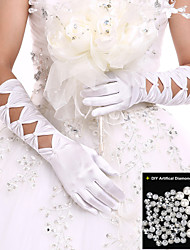 New Elbow Length Gloves Party/Evening/Wedding Fingertips Gloves Wedding Dress Accessories+DIY Pearls and Rhinestones