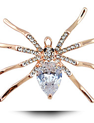 Europe Exaggerated Alloy Diamond Brooch Spider Insect Zircon