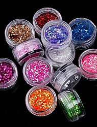 12 Colors/Set 3D Round Glitter Shape Sequins Powder Nail Art Acrylic Kit