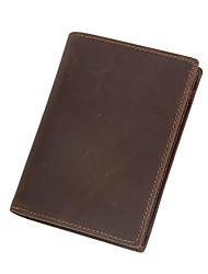 Unisex Cowhide Bi-fold Wallet  Genuine Leather Credit Card Wallets Brown
