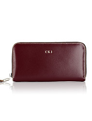 CKI Men Wallet Vintage Genuine Leather Unique Design Briefcase Men Imported Cowhide Business Clutch Bags Purplish Red