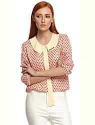 Women's Polka Dot Blue / Pink T-shirt , Round Neck Long Sleeve