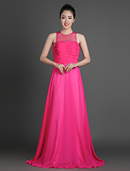 Formal Evening Dress Sheath / Column Jewel Floor-length Chiffon with Tiers