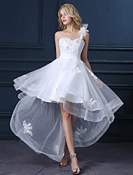 A-line Wedding Dress - White Asymmetrical One Shoulder Satin / Tulle