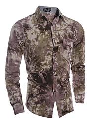 Men's Fashion Tie-Dye Printing Long Sleeved Shirt , Cotton / Polyester Casual Print