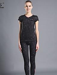 Running Clothing Sets/Suits Women's Short Sleeve Breathable Terylene Yoga OUDIKE Sports Wear Stretchy Indoor BlackSpring / Summer /