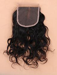 8 12 14 16 18 20 22 24 inch Натуральный чёрный (#1В) Изготовлено вручную Волнистые Человеческие волосы закрытие Умеренно-коричневый