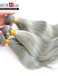 """3 PC / porción gris plata 12 """"-24"""" extensiones de cabello virgen sin procesar peruanos pelo recto teje"""